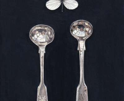 Rachel Ross White Butterfly With Two Salt Spoons 20X16Cm Acrylic On Board £650