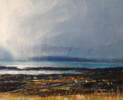 Rain Approaching Gigha Mixed Media With Gold Leaf 14 X 28 Cm