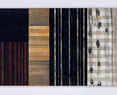 Rain Shelter Triptych Mokuhanga On Three Gesso Panels 40 X 90 Cm