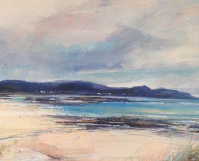 Rain At Sanna Bay Mixed Media Wih Gold Leaf 29 X 58 Cm
