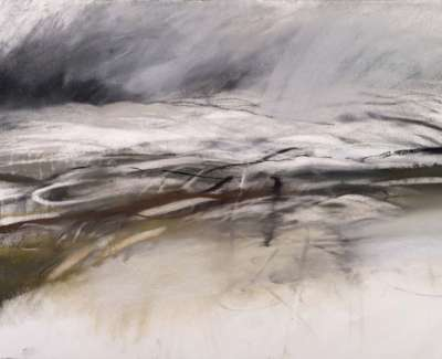 Rain In The Wind Corrennie Moor Charcoal And Pastel 105 X 75