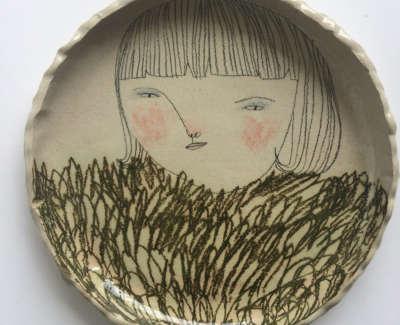 Rebecca Brown  A Fluffy Jumper  Speckled Stoneware Clay 24 Cm D