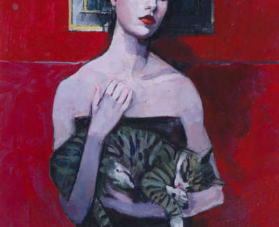 Red Room With Cat Acrylic On Board 23 X 31 Cmweb
