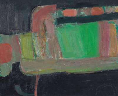 Restall Promontory Form Oil On Board 1998 35 5 X 45 5 Cm Web