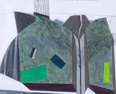 Restall River Cutting Acrylic Collage 2009 61X 46 Cm Web