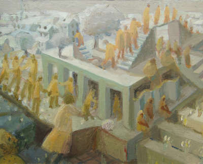 Robbie Bushe  The Yellow People  Oil On Board 15 X 21 Cm £280 00