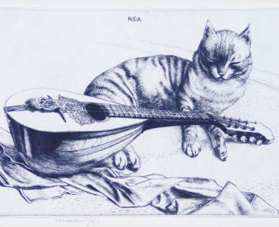 Robert Sargent Austin Cat And Mandolin