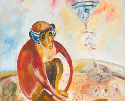 Sad Monkey Flies His Kite Oil On Canvas 1985 91 5X76Cm
