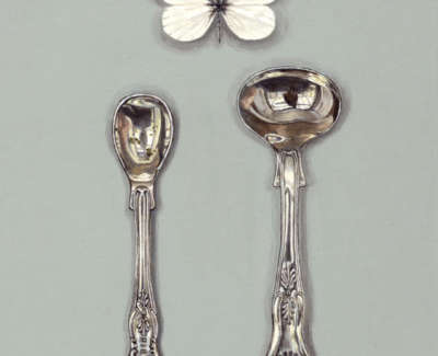 Salt Spoons With White Butterfly Acrylic On Board 20 X 16 Cm