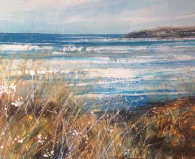 Sea Grasses And Breakers Mixed Media With Gold Leaf 21 X 28 Cm
