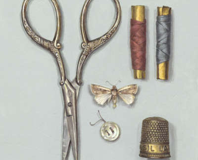 Sewing Scissors With Thimble And Thread