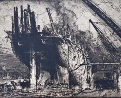 Sir Frank William Brangwyn Breaking Up The Duncan
