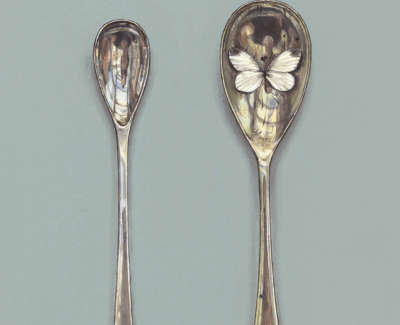 Small Spoons With White Butterfly