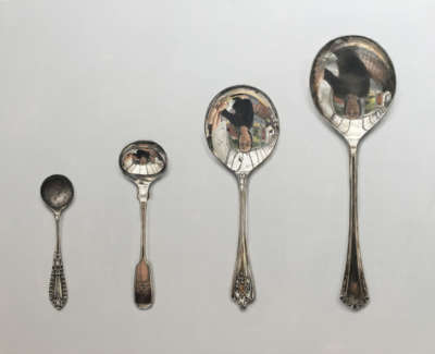 Spoons Arranged In Ascending Order Acrylic On Board 47 X 60 Cm £2600 00