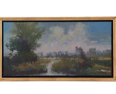 Stow Cum Quy Morning  Oil On Linen 15 X 30 Cm £600 00