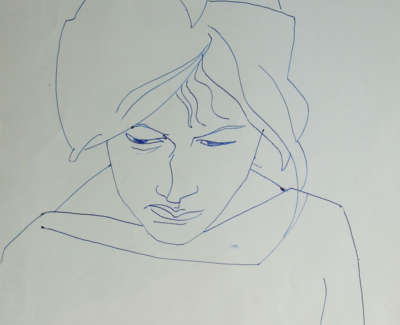 Study Of Woman Reading August 1961 Pen On Paper 37 X 26 Editedwebweb