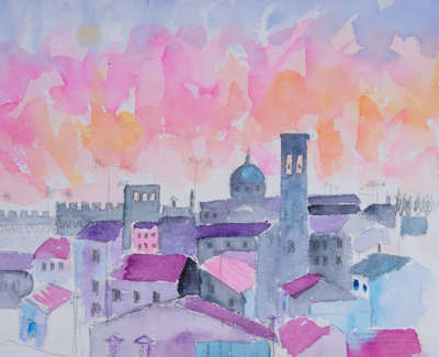 Sunset  Firenze Mixed Media Watercolour Inks Coloured Pencils And Gold Leaf 28 X 31 Cm