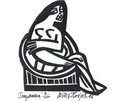Suzannah Linocut 1997 7 X 6 Cm