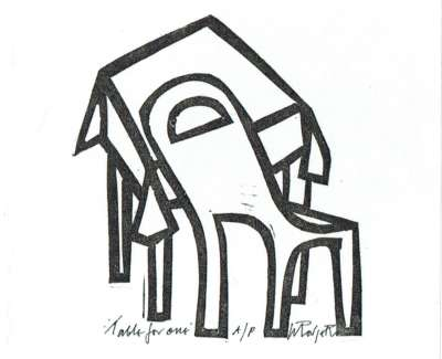 Table For One Linocut 2005 9 X 8 Cm