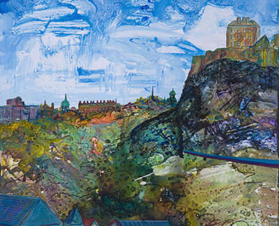 The Castle And Commerce Edinburgh College Of Art Acrylic On Card 90 X 64 Cm £1000