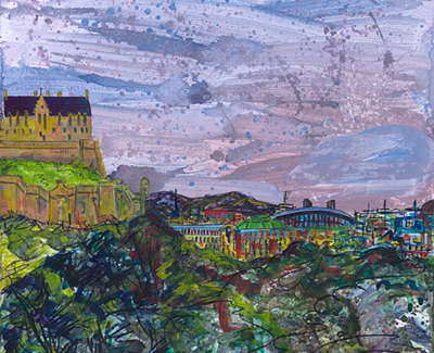 The Castle And Commerce From Princes Street 90 X 64Cm £1000