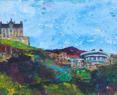 The Castle From Princes Street Acrylic On Board 21 X 15 Cm £300