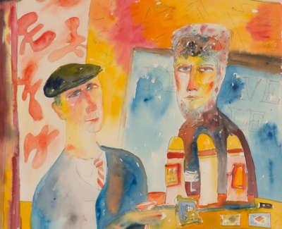 The Couple Watercolour 1984 76X53Cm