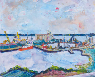 The Firth Of Forth And Albert Dock From Ocean Terminal Acrylic On Board 30 X 30 Cm £400