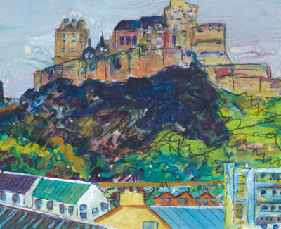 The Grassmarket And The Castle Acrylic On Board 21 X 15 Cm £300