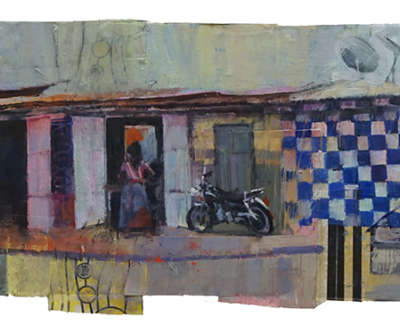 The Heat Ouidah Benin  Oil And Mixed Media On Board 85 X 27 Cm