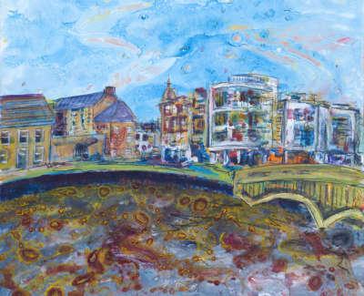 The Shore Leith Acrylic On Board 30 X 30 Cm £400