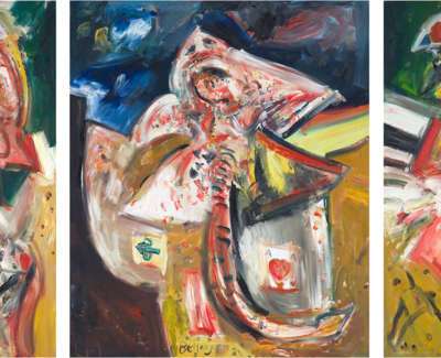 The Skate Odyssey Triptych Oil On Canvas 1983 Cropped