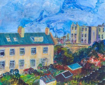 Thornville Terrace Lochend Colonies Leith Acrylic On Board 30 X 30 Cm £400