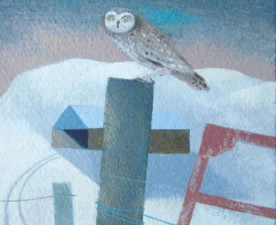 Tom Mabon Decemebr Owl And Barn Oil On Board £350 00Web