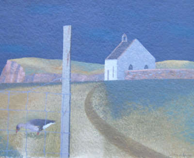 Tom Mabon Sandness Goose And Church Shetland  Oil On Board £350 00Web