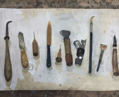 Tools Of The Trade  Watercolour And Gouache 28 X 46 Cm £1100 00