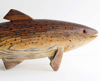 Trout Carved And Constructed Wooden Sculpture 15 X 46 X 8 Cm