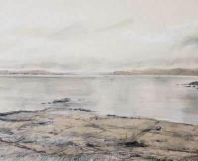 View From Iona Pencil And Chalk On Handmade Paper 30 X 84 Cm