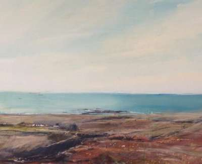 View From Mull Mixed Media With Gold Leaf 35 X 84 Cm
