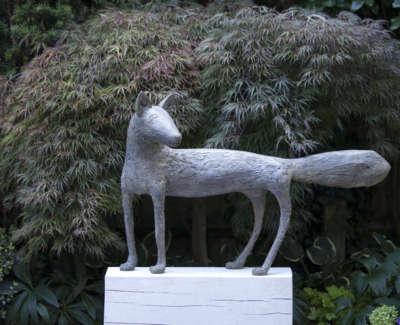 Watching Fox Bronze Edition 3 Of 5 70 X 109 Cm With Oak Plinth 30 Cm High £14500Web
