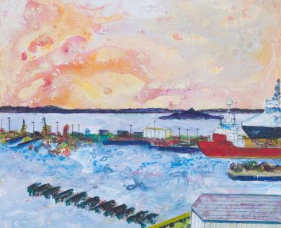 Western Harbour Leith Acrylic On Board 30 X 30 Cm £400