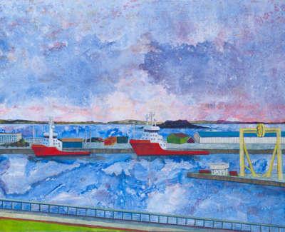 Western Harbour Leith Acrylic On Canvas 100 X 150 Cm £2000