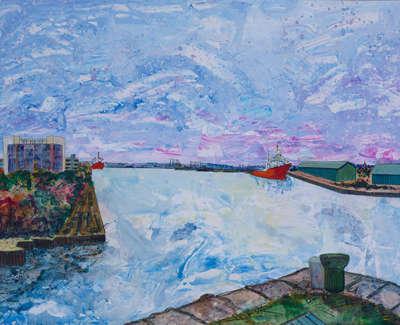 Western Harbour From Ocean Drive Acrylic On Card 90 X 64 Cm £1000