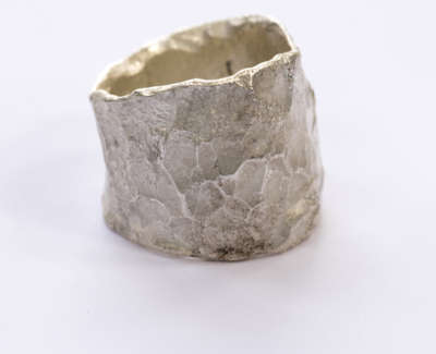 Wide Silver Organic Ring