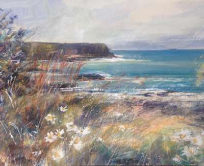 Wild Grasses Causeway Coast Mixed Media With Gold Leaf 42 X 59 Cm