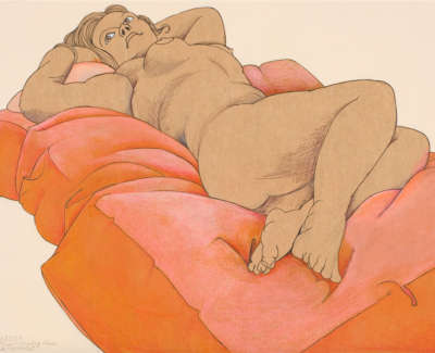 Woman On A Peach Coverlet W