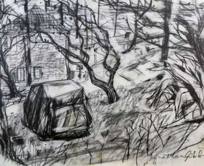 Wrapped Car In The Pines Graphite Drawing Edited