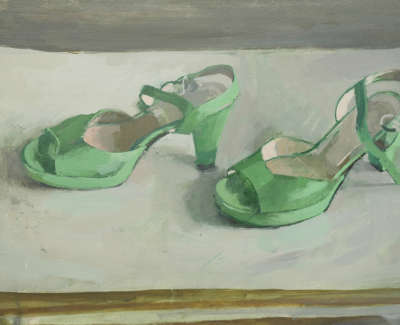 Zoe Strachans Shoes  Oil On Board 28 X 48 Cm £1400 00