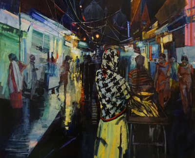 Delhi Street Dreams  Oil And Mixed Media On Canvas 145 X 168 Cm