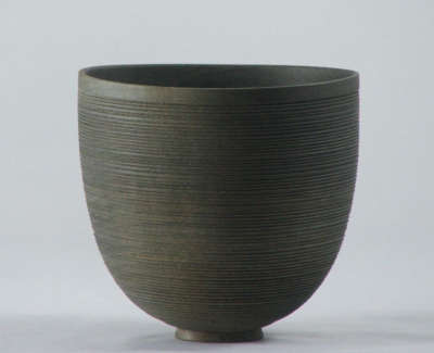 F Vessel In Holly Approx 8Cms H X 8 5Cms D Ebonised Slate